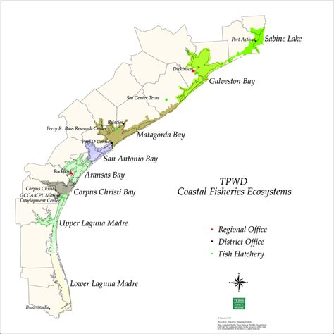 map of gulf coast texas tpwd coastal ecosystem map