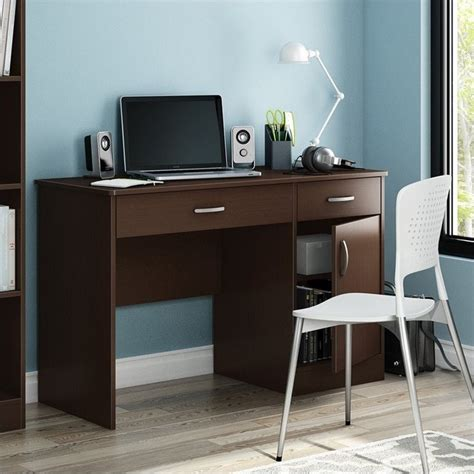south shore axess small computer desk in chocolate 7259070