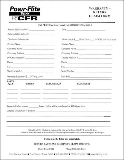 as is warranty form submit a warranty or find more information from cfr