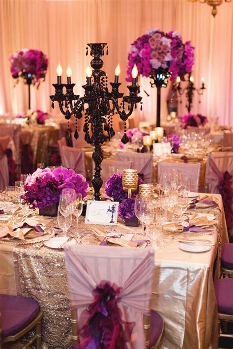126 Best Purple And Gold Decor Images On Pinterest Home Black And Gold Wedding Centerpieces