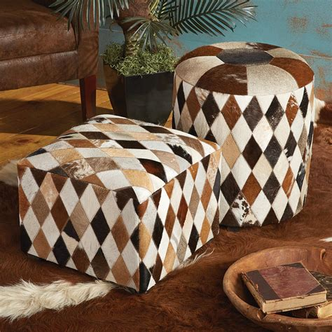 multicolor cowhide footstool ottoman