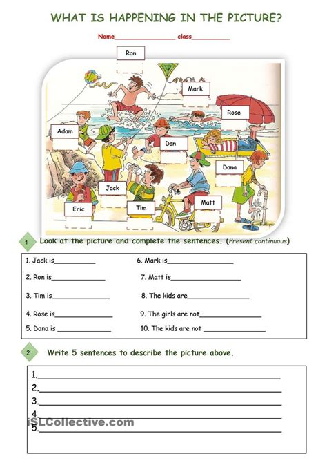 what is happening in the picture esl worksheets of the