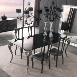 Dining Table Set Black Large Black Glass Dining Table Set