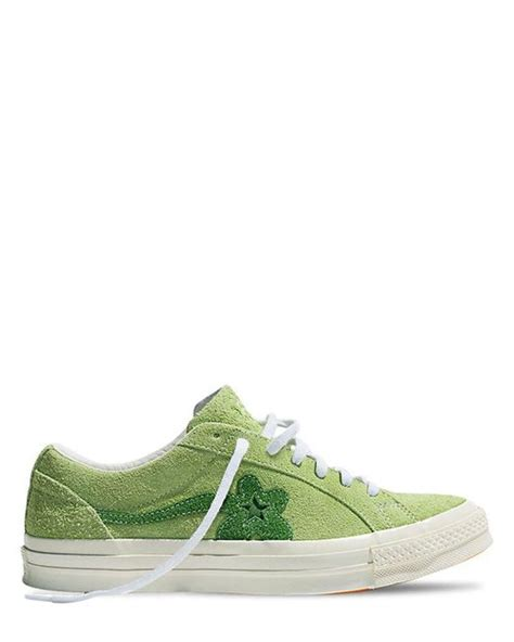 Converse One X Golf Le Fleur Purple Suede Converse Wanita lyst converse one golf le fleur suede trainers in green