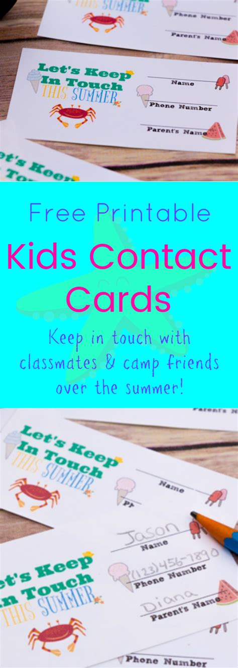 printable phone number cards printable kids contact cards keep in touch classroom or