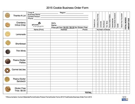 cookie order form template scout cookie order form template sle templatex1234