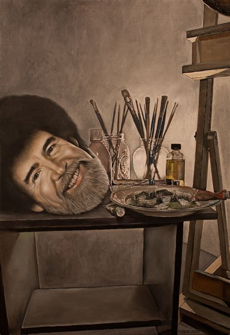 bob ross painting easel still with bob ross bijijoo