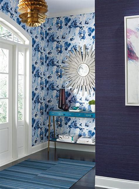 york wallcoverings home design center aquarella wallpaper in blue and white design by stacy