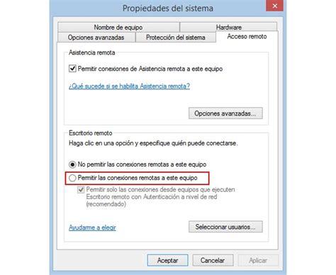 habilitar escritorio remoto activar desactivar el escritorio remoto de windows