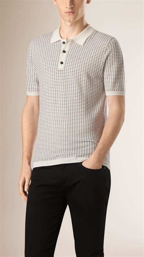 burberry pattern t shirt burberry micro pattern wool silk polo shirt in black for