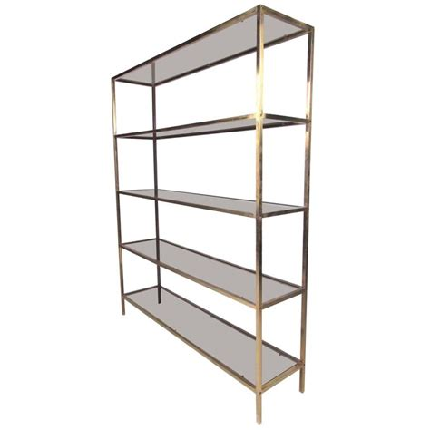 etagere 9 cases mid century brass and tinted glass 201 tag 232 re for sale at 1stdibs