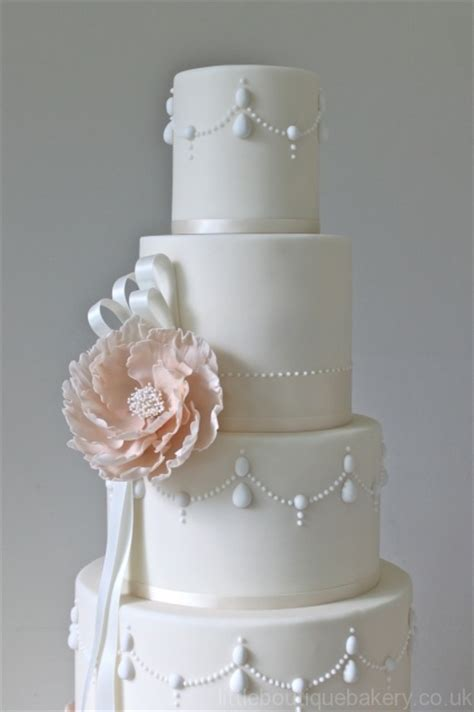 Peony & Pearls Five Tier Wedding Cake   Little Boutique Bakery