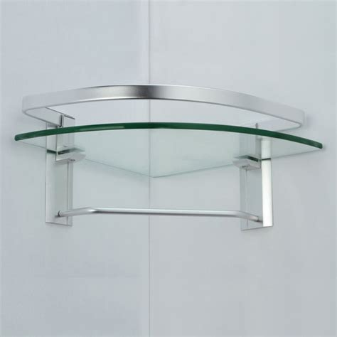 Glass Bathroom Shelves With Towel Bar Kes Aluminum Bathroom Glass Corner Shelf With Towel Bar Wall Mount Thick Tempered Glass