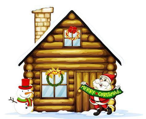 christmas house santa with snowman clipart clipartxtras