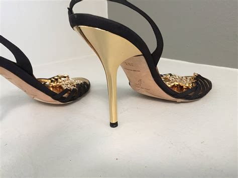 black gold shoes high heels rene caovilla brand new black gold rhinestone slingback