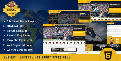 Rugby League Html Template By Kodeforest Themeforest League Website Template