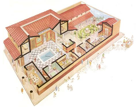 ancient roman villa floor plan roman house layout places pinterest