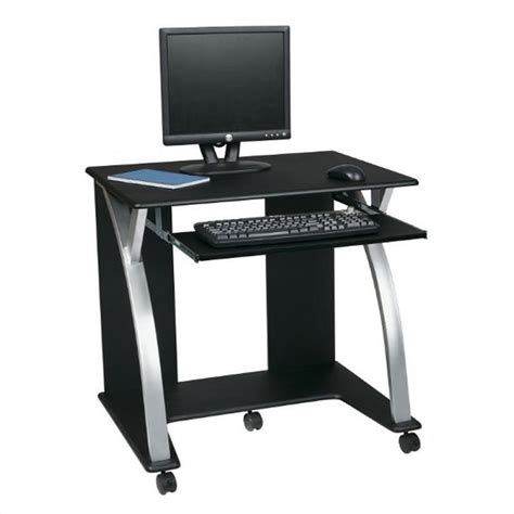Office Star Saturn Black Pvc Veneer Black W Silver Silver Computer Desk