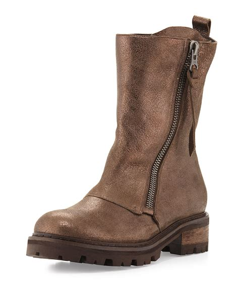 leather moto boots henry beguelin metallic dusted leather moto boot in brown