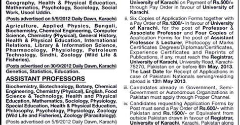 karachi university assistant associate professor lecturer jobs  march
