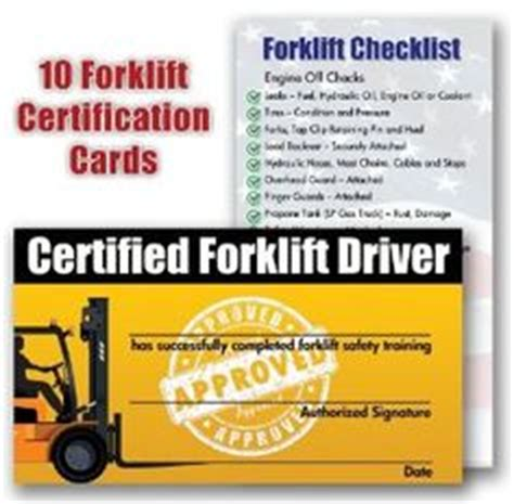 forklift certification template forklift certification wallet card template work