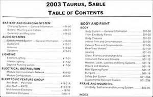 2003 Ford Taurus Owners Manual 2003 Ford Taurus Mercury Repair Shop Manual Original