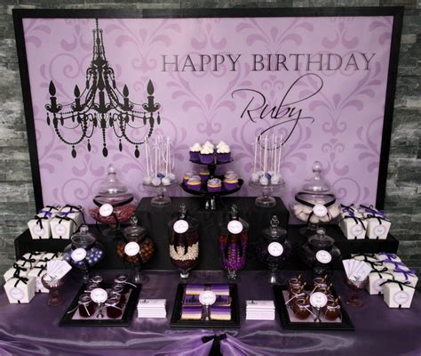 birthday themes elegant purple black sophisticated tween birthday party