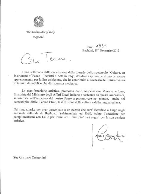 esempi di lettere formali in italiano quot lettera di ringraziamento dell ambasciatore italiano in