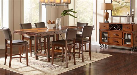 wood dining room sets hook pecan 5 pc counter height dining room dining
