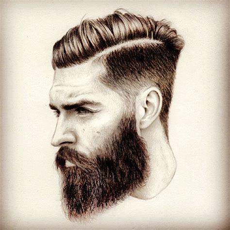 mens style hair bread bearded man sketch art artwork drawing arts undercut hair