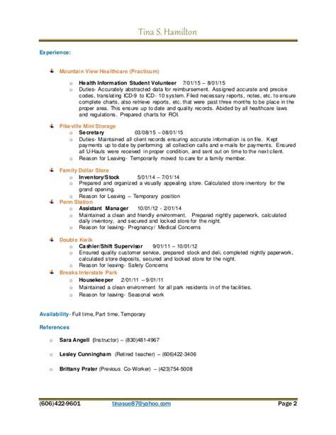 resume tinasue 2016