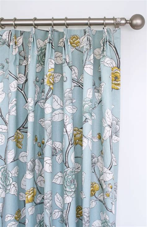 Soft Yellow Curtains Soft Blue Floral Drapes With Charcoal Grey Yellow And White Custom Drapery By Www Tonicliving