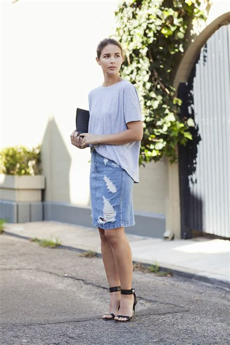 how to wear denim skirts 2018 fashiongum