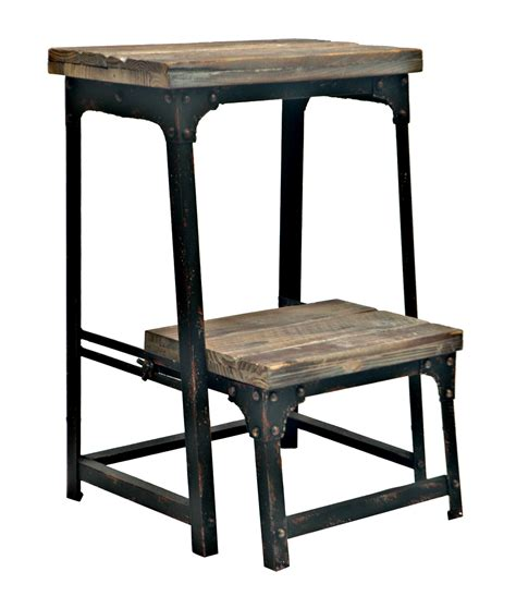 Adjustable Step Stool by Industria Metal Wood Adjustable Step Stool In Reclaimed