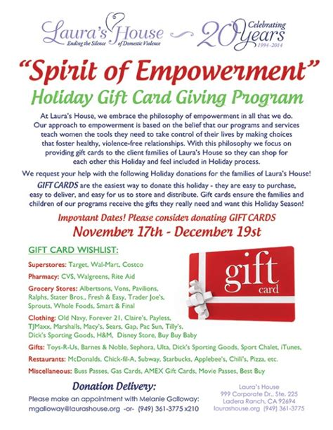Gift Card Donations - laura s house ending the silence of domestic violence