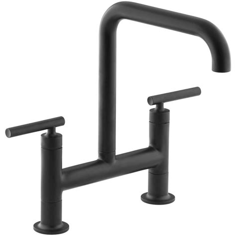 kitchen faucet black finish shop kohler purist matte black 2 handle high arc kitchen faucet at lowes com