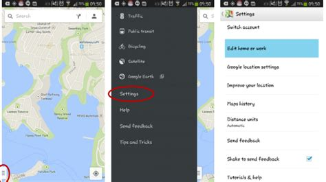 how to set home and work in maps for android and