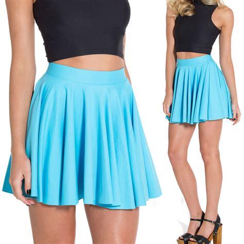 matte blue pleated skirt skater skirts womens saia