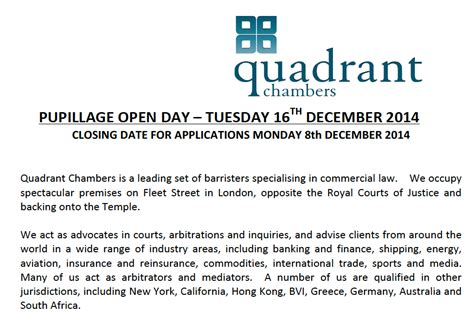 Pupillage Covering Letter quadrant chambers pupillage open day future lawyer
