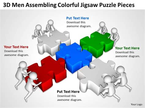 3d men assembling colorful jigsaw puzzle pieces ppt