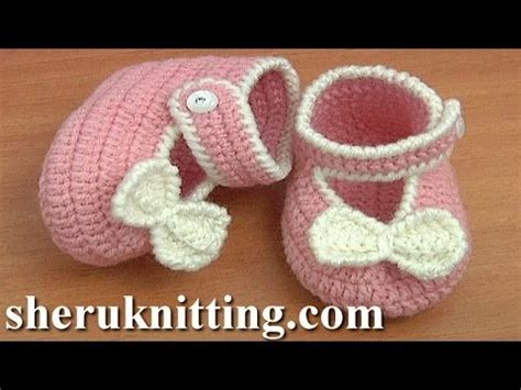 baby booties for a baby girl zapatitos para una bebe crochet button buckle bow shoes tutorial 37 part 1 of 2