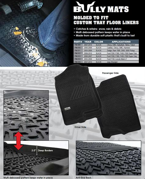 Molded Truck Floor Mats by Custom Molded Truck Floor Liners By Bully