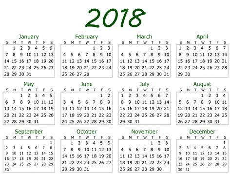 2018 yearly calendar template monthly yearly 2018 calendar template excel word