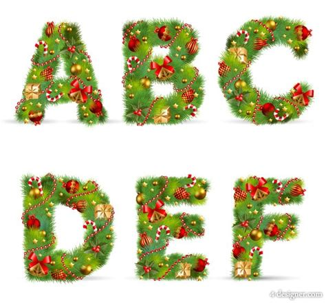 4 designer vector letters christmas ornaments 01 vector