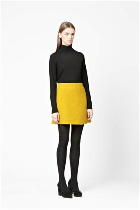 cos a line wool skirt in yellow mustard yellow lyst