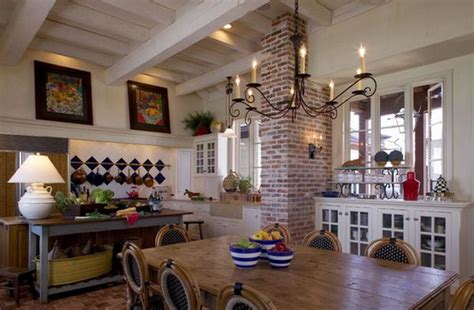 Cottage Style Kitchen Designs incorporating exposed bricks in stylish designs around the
