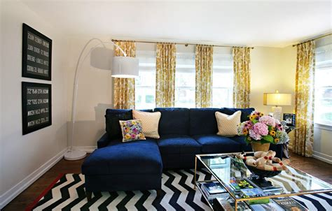 Soft Yellow Curtains Designs Astonishing Soft Yellow Curtains With Electric Blue Sectional Sofa