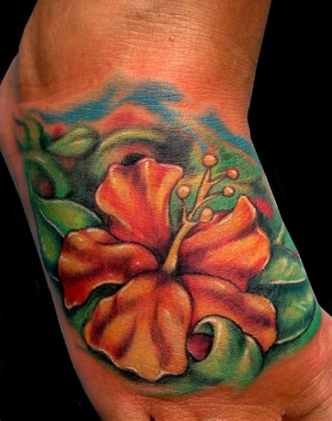hawaii flower tattoos orange hibiscus flower on foot tattooimages biz