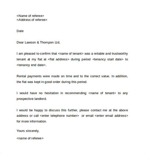 Reference Letter Template From Employer To Landlord Landlord Reference Letter Template 10 Sles Exles Formats