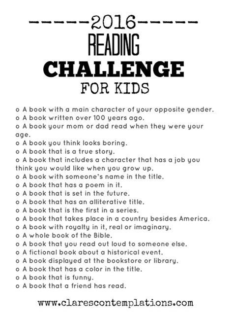 reading contest themes clare s contemplations 2016 reading challenge for kids